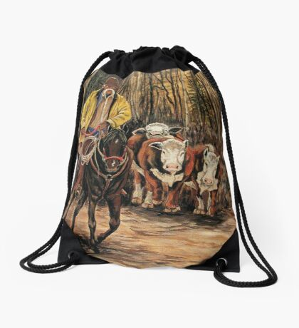 Living The Dream #4, Rounding Up The Stray Ladies  Drawstring Bag