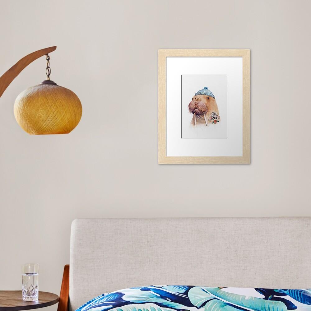 Tattooed Walrus Framed Art Print