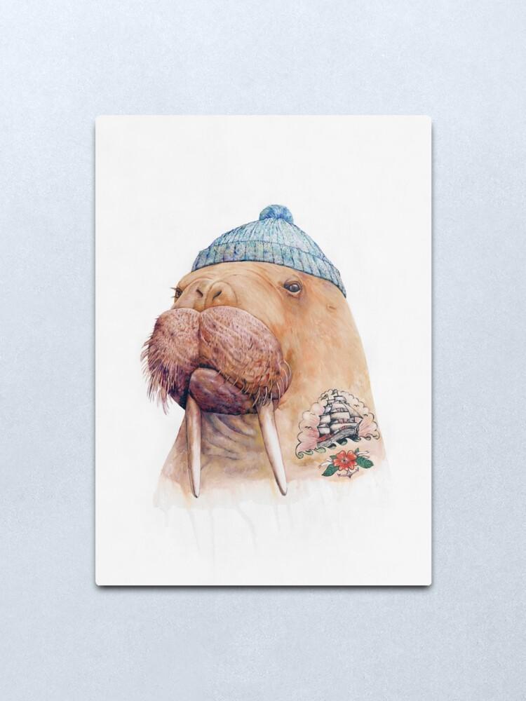 Alternate view of Tattooed Walrus Metal Print