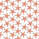 Coastal Beach Red Starfish by GypseaDesigns