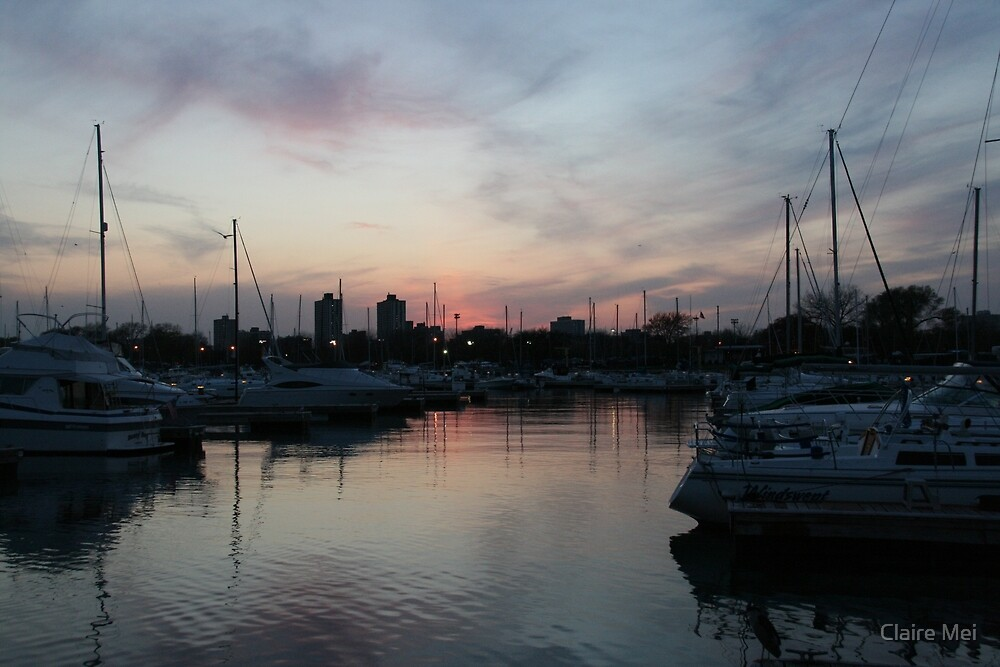 Sunset at the Harbor by Claire Mei