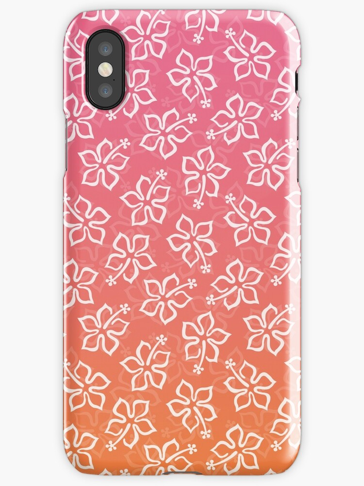 Pink Orange Ombre Hibiscus Pattern by cikedo