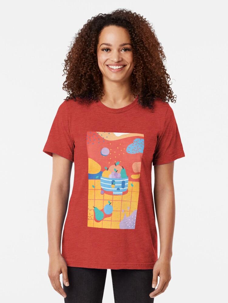 Alternate view of Skull Fruit Bowl Tri-blend T-Shirt