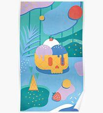 Skull Ice Cream Cone Poster
