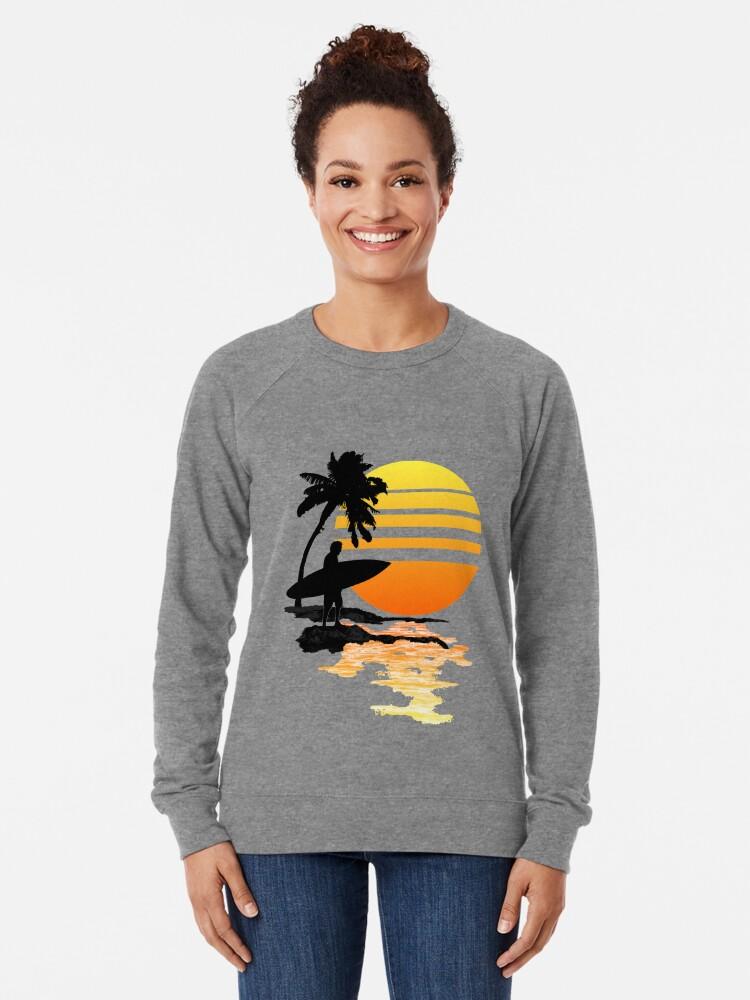 Alternative Ansicht von Surfender Sonnenaufgang Leichter Pullover