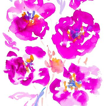 Bright Pink and Purple Watercolor Flowers by ilzesgimene