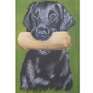 Flatcoated retriever with dumbbell by doggyshop