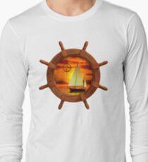 Sailboat And Compass Rose Long Sleeve T-Shirt