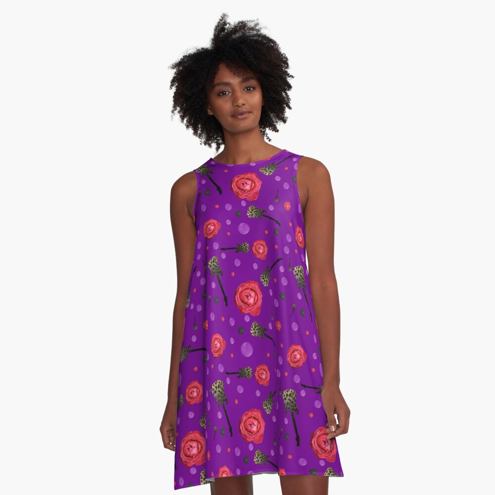 Purple roses and guitars pattern A-Line Dress Front