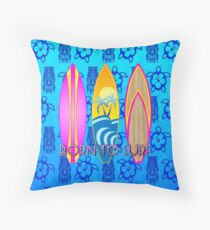 Pink Born To Surf Blue Tiki Mask Throw Pillow