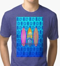 Pink Born To Surf Blue Tiki Mask Tri-blend T-Shirt