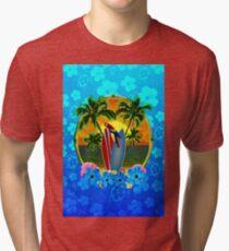 Blue Flowers Tropical Sunset Tri-blend T-Shirt