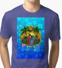 Blue Flowers Tropical Sunset Tri-blend T-Shirt
