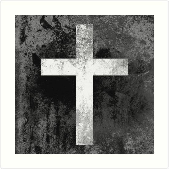 Christian Cross White grey faded by cdsymbols
