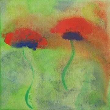 Gouache painting of red poppies on a green meadow by BeateG