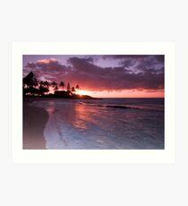 Sunrise beach scene Kauai Art Print