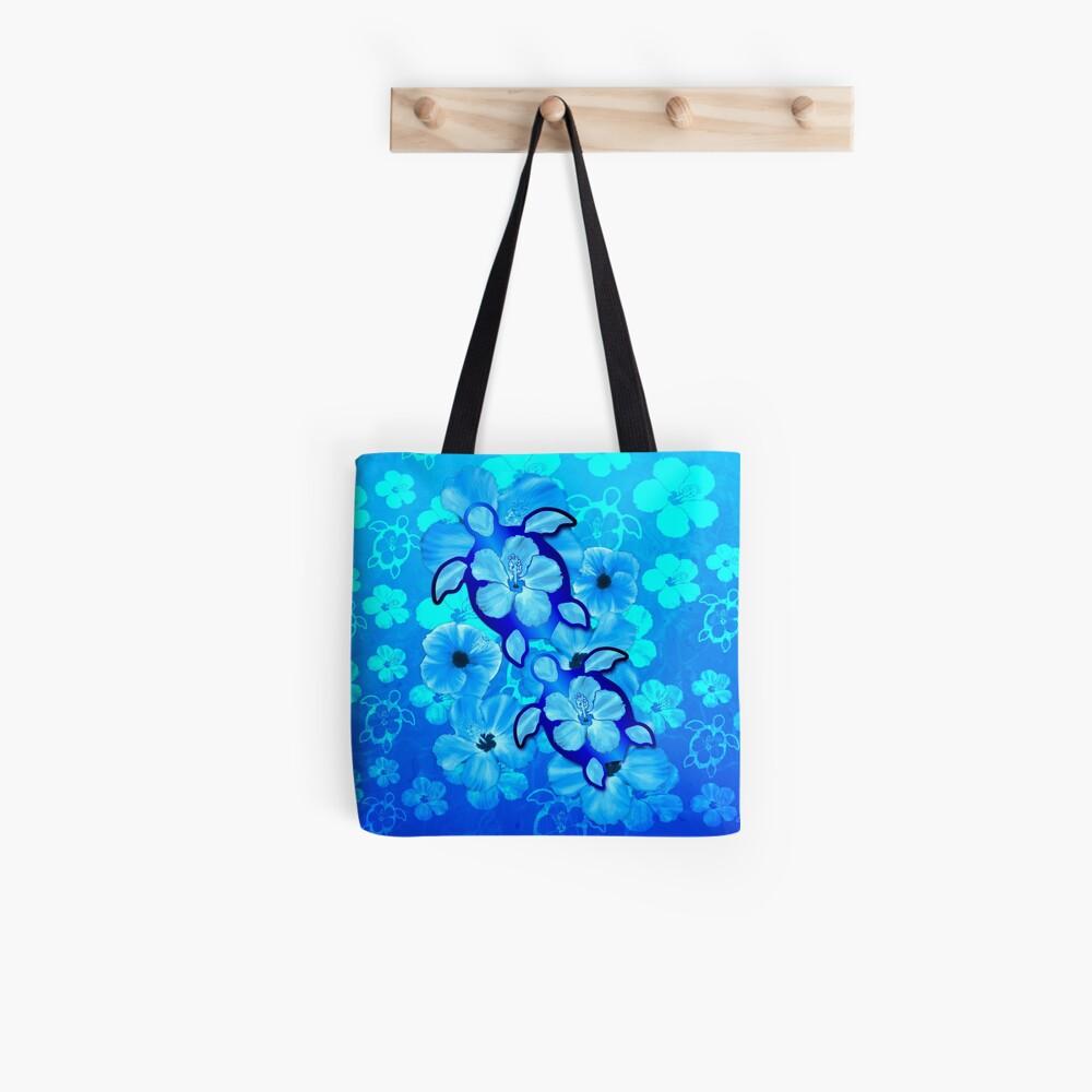 Blauer Hibiscus und Honu Turtles Tote Bag
