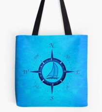 Sailboat And Compass Rose Tote Bag