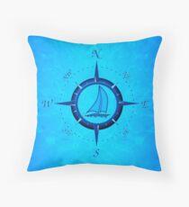 Sailboat And Compass Rose Throw Pillow