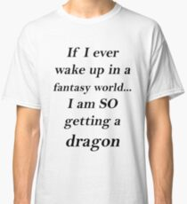 Fantasy Dragon Black Classic T-Shirt