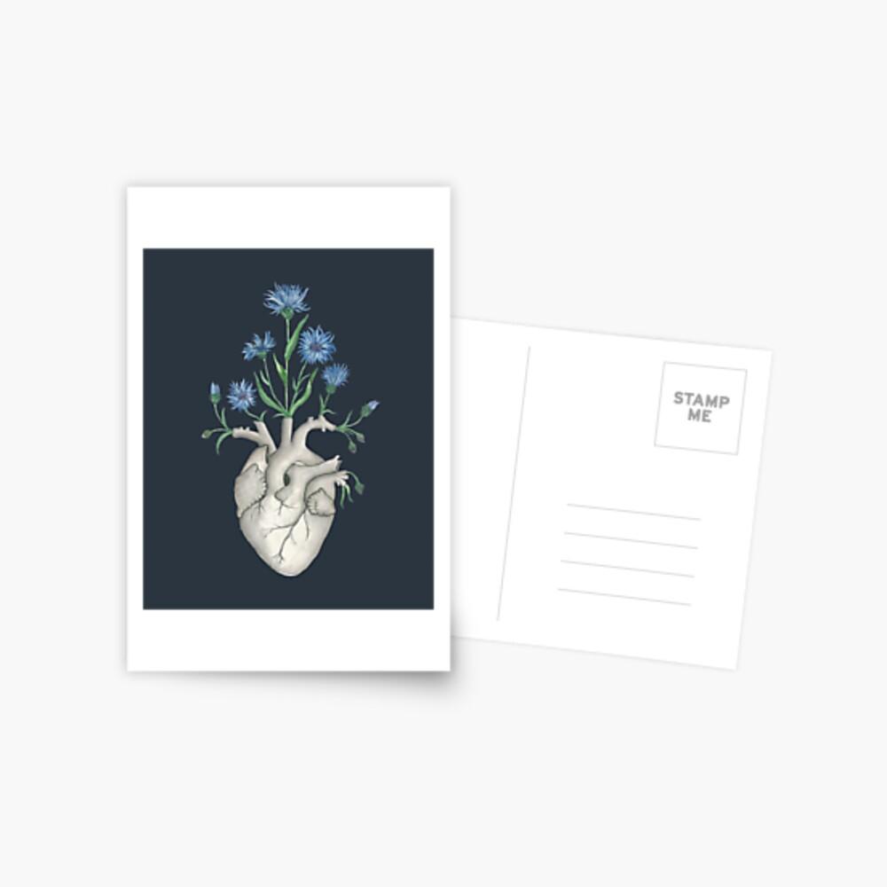 Floral Heart: Human Anatomy Cornflower Flower Halloween Gift Postcard