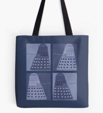 Daleks in negatives - blue Tote Bag