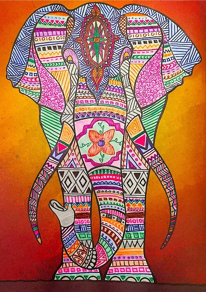 Elephant Doodle  by Hollygael