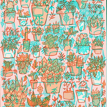 Potted Plants Risograph Print  by doodlebymeg