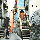 Old woman in the alley with stairs and blue building by Giuseppe Cocco