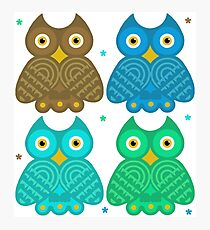 Colorful Cartoon Owl Pattern Photographic Print