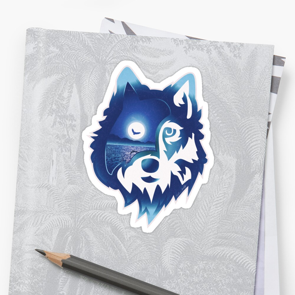 Wolf Head | Moonlight Water Sticker