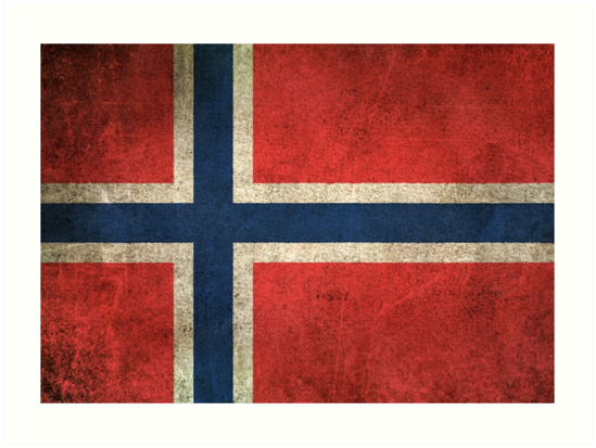 Old and Worn Distressed Vintage Flag of Norway by jeff bartels