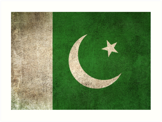 Old and Worn Distressed Vintage Flag of Pakistan by jeff bartels