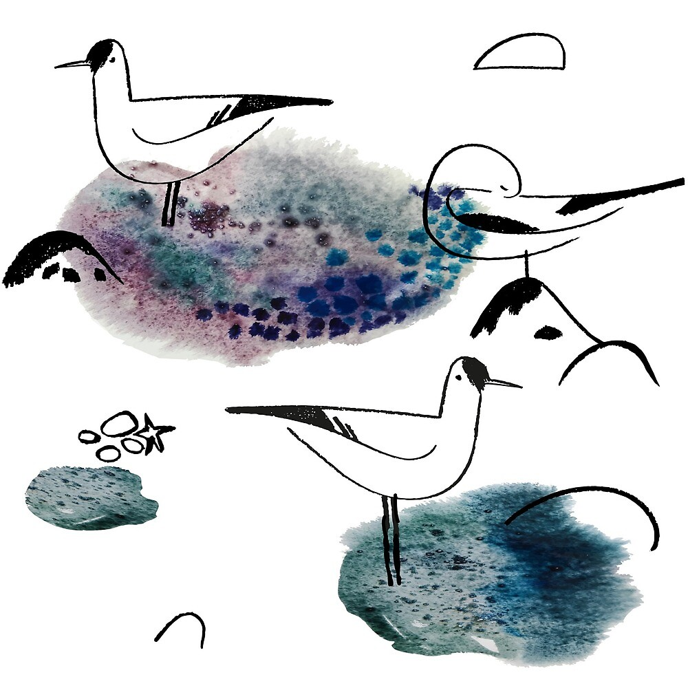 Watercolor print with seagulls by Ekaterinaya