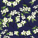 April blooms(Dogwoods_blue) by Kanika Mathur  Design