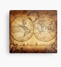 Antique Map - The World Metal Print
