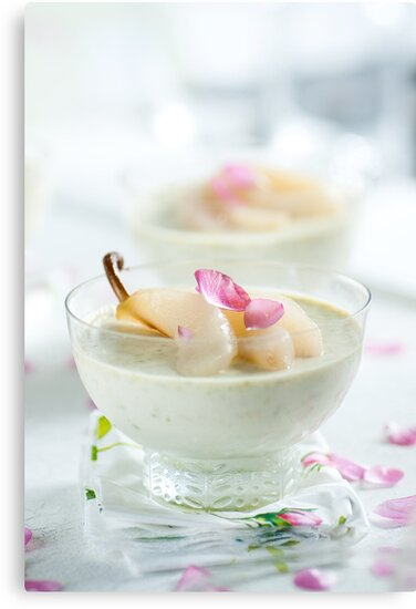 Pistachio Panna Cotta with Rose Poached Pears by Ilva Beretta