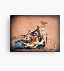 The Flintstones go Lowbrow Metal Print