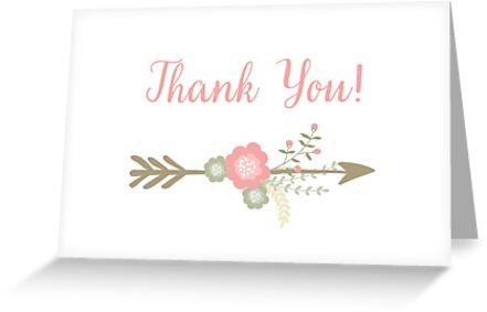 Flowers Arrow Thank you card  by irinatsy