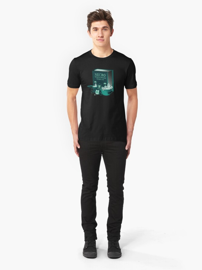 Alternate view of Necronomnomnomnomicon Slim Fit T-Shirt