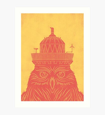 Poolbeg Lighthouse Owl Art Print