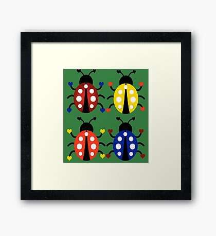 Ladybugs with Hearts Framed Print