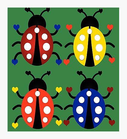 Ladybugs with Hearts Photographic Print
