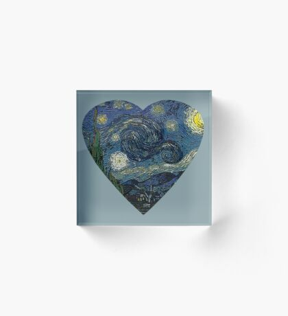 The Starry Night Heart Acrylic Block