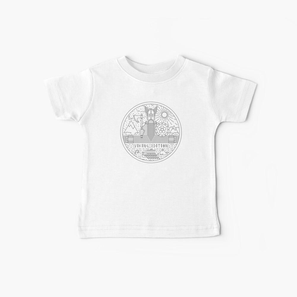 Feliz vikingo en la naturaleza negro sobre blanco Camiseta para bebés