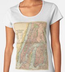 Camiseta premium para mujer Mapa del metro de la ciudad de Nueva York (1903)