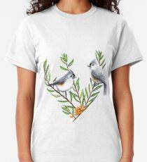 Tufted Titmouses on sea buckthorn branches Classic T-Shirt