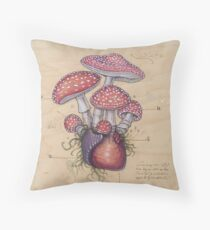 Toadstool Heart (Amanita Muscaria) Throw Pillow