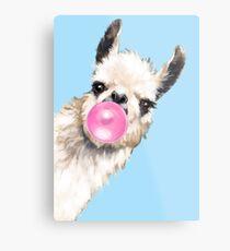 Bubble Gum Sneaky Llama in Blue Metal Print