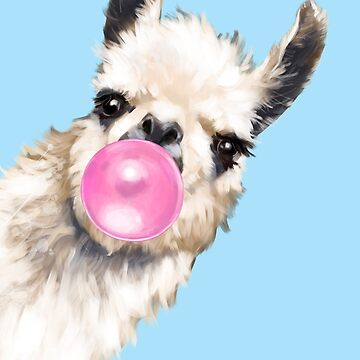 Bubble Gum Sneaky Llama en azul de bignosework